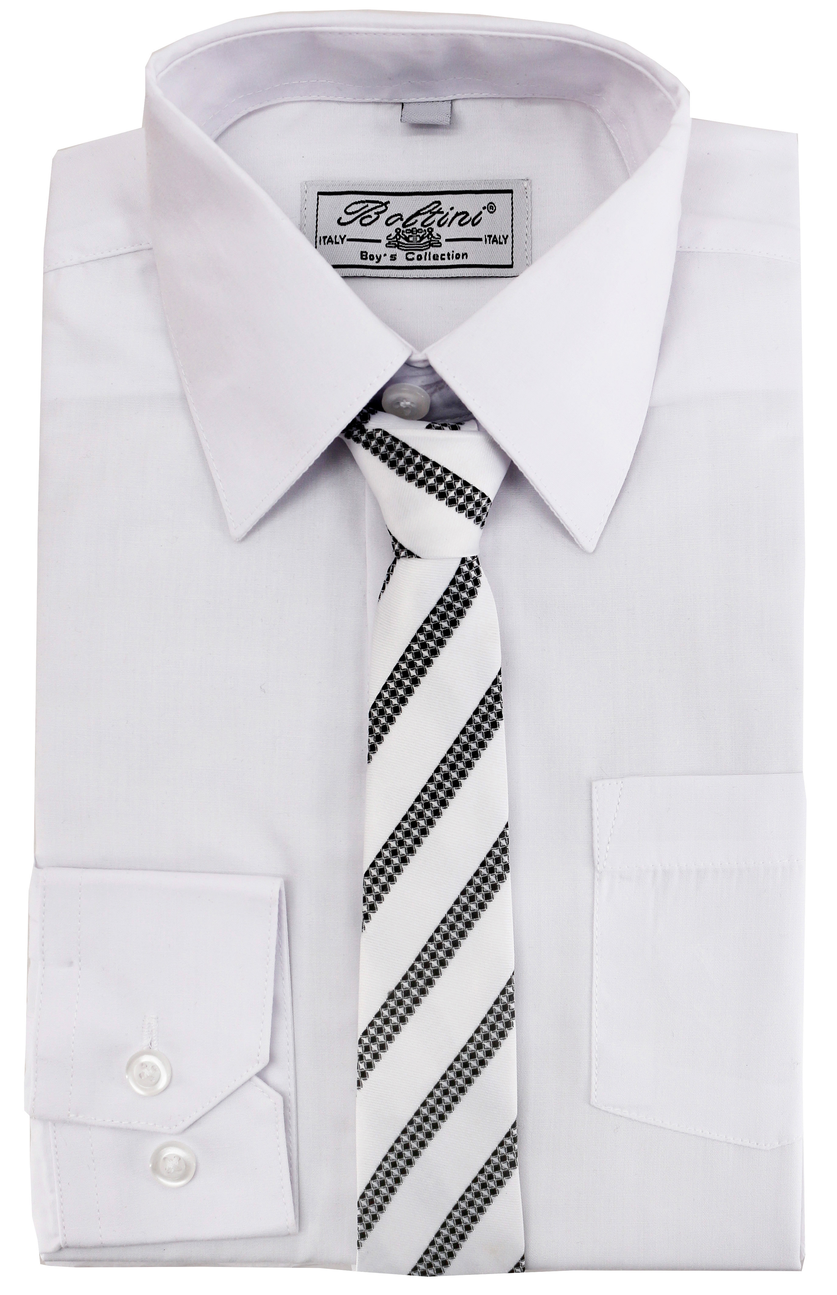 Boltini Italy - Boltini Italy Boys Kids Toddlers Long Sleeve Dress Shirt Set with Matching Tie (White, 7) - Walmart.com