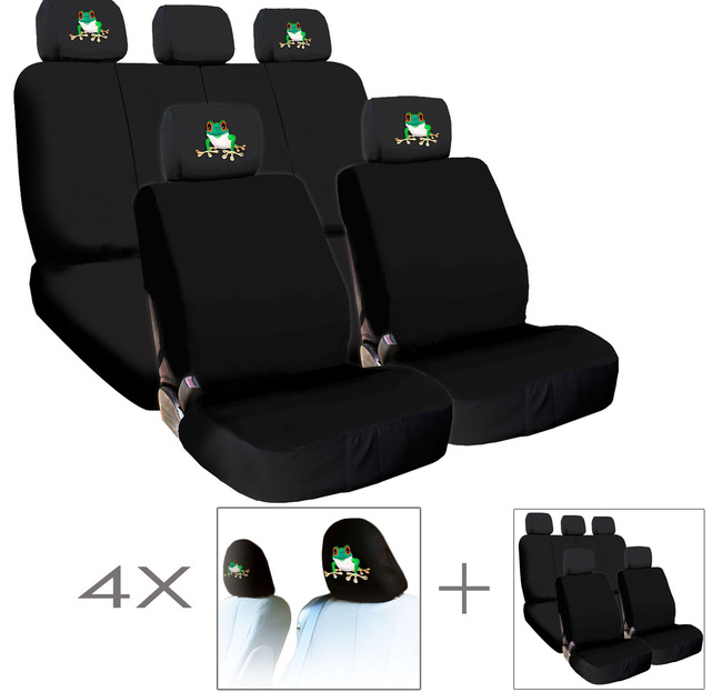 New Bundled 4X Frog Logo Car Seat Headrest Covers And Seat Covers Accessory Universal Fit Shipping Included