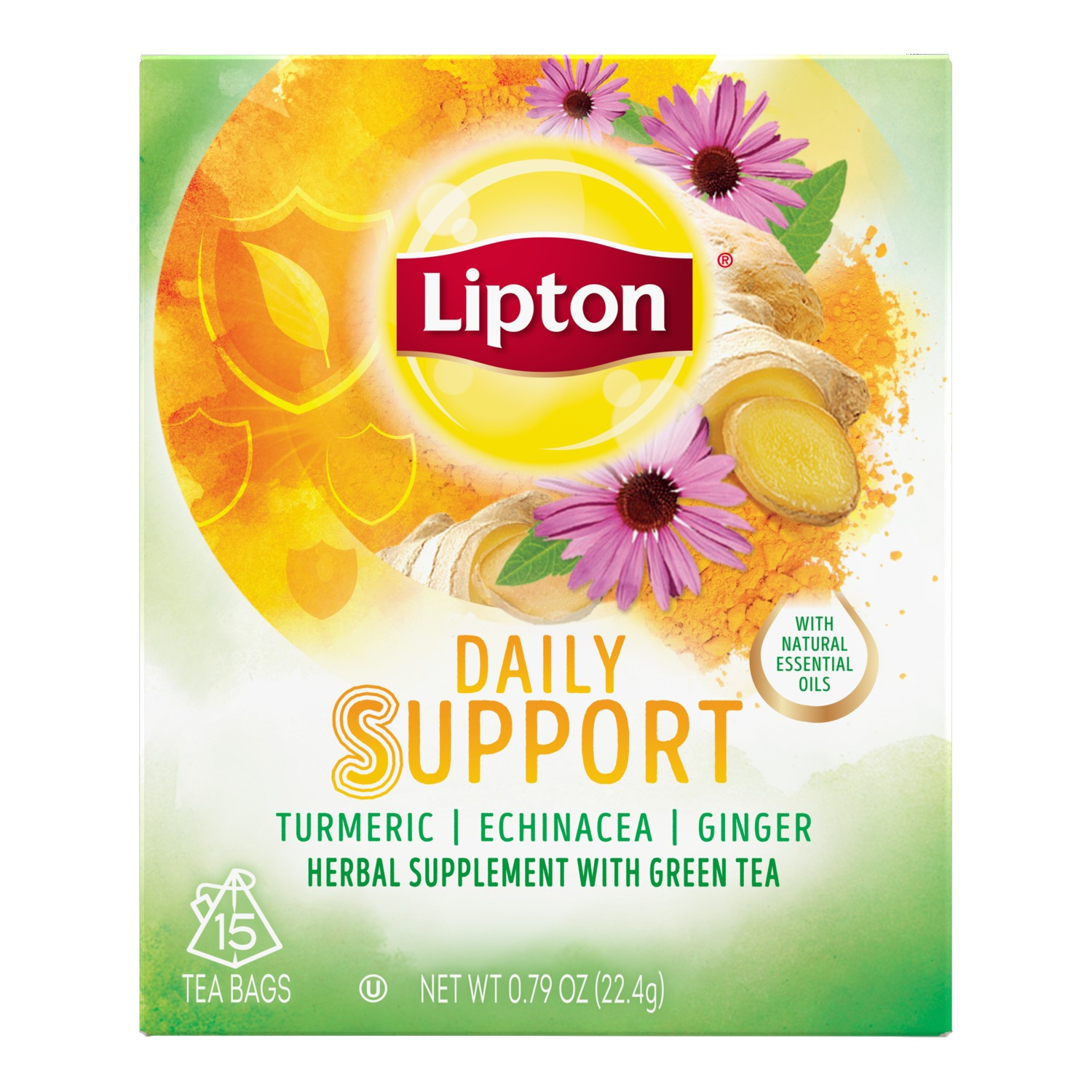 (4 Boxes) Lipton Herbal Supplement with Green Tea Daily Support 15 ct