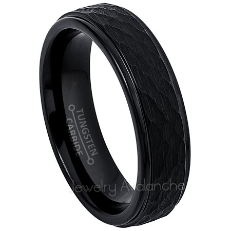 Tungsten Wedding Ring - Band for Mens & Womens- 6mm Hammered Tungsten Ring - Black IP Tungsten - Womens Hammered Wedding Band
