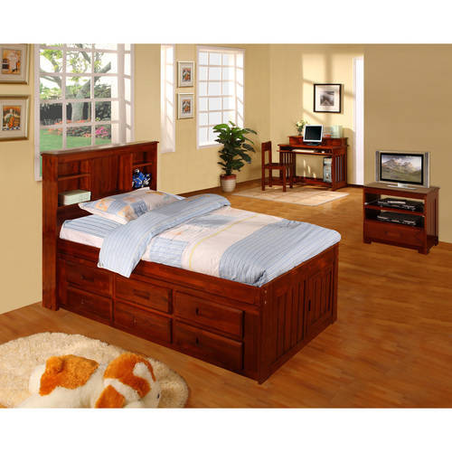 American Furniture Classics Twin Platform bed with bookcase headboard and six drawers of storage in a merlot finish.