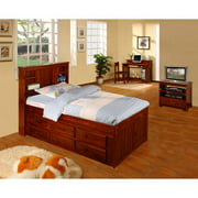 American Furniture Clics Twin Platform Bed With Bookcase Headboard And Six Drawers Of Storage In A