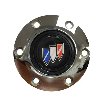 Volante Steering Wheels S6 Horn Button; w/Buick Emblem; Chrome; 6-Bolt