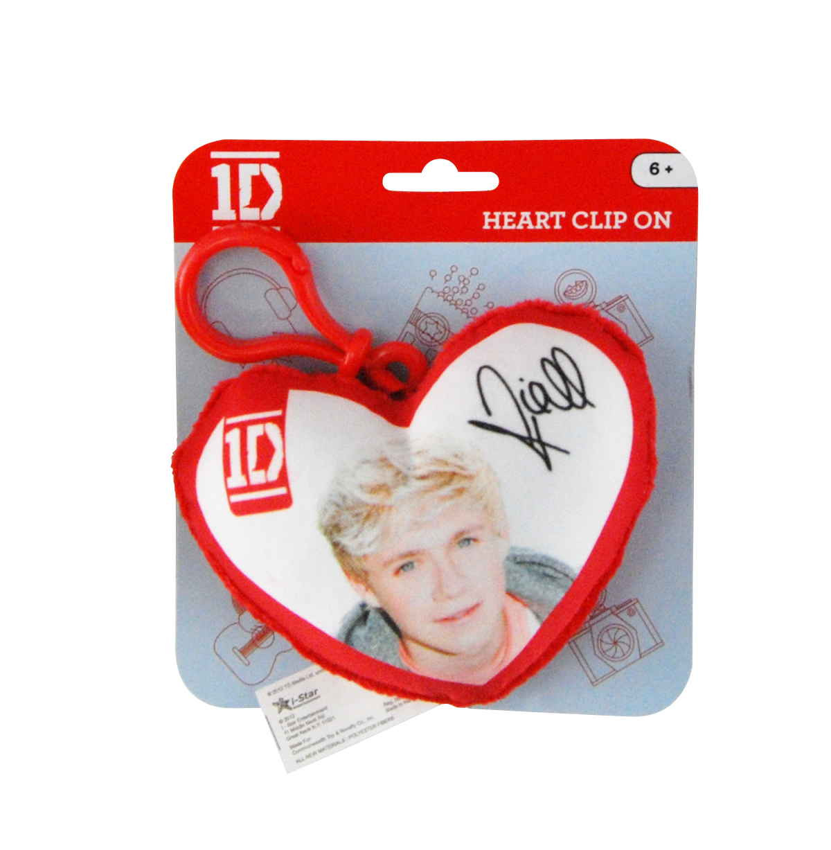 1D One Direction Plush Heart Backpack Clip On: Niall
