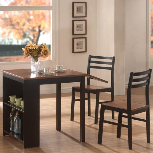 Coaster 3 Piece Breakfast Dining Set With Storage Chestnut Black