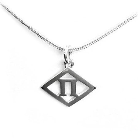 Alpha Delta Pi Sterling Silver Symbol Necklace Diamond Pi 12 With
