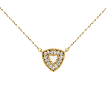 Diamond Triangle Necklace - 0.29 ct Diamond Triangle or Trillion Necklace 14K Yellow Gold Without Chain (G,SI) Extra-Ordinary Quality