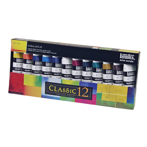 Liquitex Acrylic Paint - Heavy Body - 12 Assorted Colors - 24 ounces