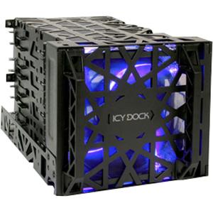 "Icy Dock Black Vortex 4 Bay 3.5"" HDD Cooler Cage w/ 120mm Fan in 3x5.25"" Bay"