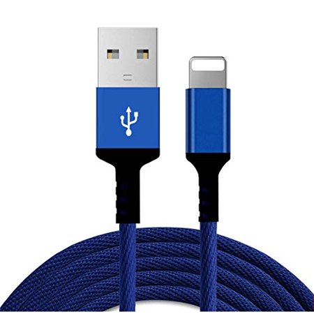 10FT Phone Charger Charging Cable Nylon USB Power Cord, Fast Charge & Sync Compatible with Smart Phone XR XS MAX X Case 8 8Plus 7 7 Plus 6S Plus 6 Plus SE Tablet iPad- 3 Meter (Blue) ()