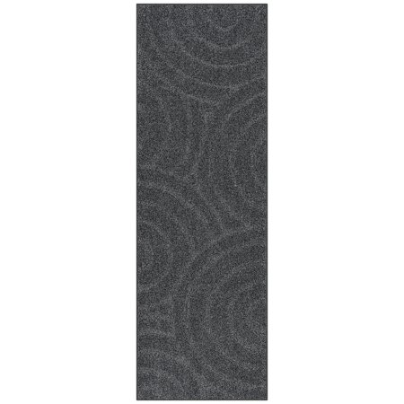 Mainstays Solid Heather Gray Circles Polyester Shag Area Rug and Runner
