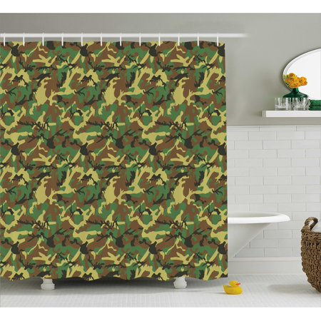 Camo Shower Curtain Woodland Camouflage Pattern Abstract Army Force Hiding In Jungle Fabric Bathroom