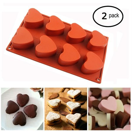 iClover [2 Pack] 8-Cup Silicone Muffin / Cupcake Baking Pan [Heart-Shaped Baking Cups] - Non-Stick, Food Pastry Mold Reusable Bakeware for Valentine Party (Heart Shaped Pen)