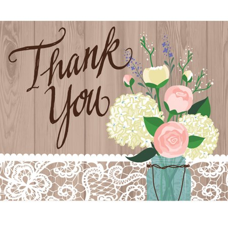 Rustic Wedding Thank You Notes, 8 pack