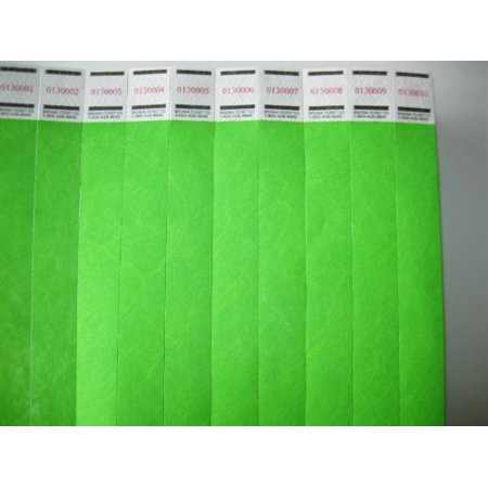 Neon Green Wristbands (50 Solid Neon Green Consecutively Numbered Wristbands 3/4 Inch, 50 Solid Neon Green Consecutively Numbered Wristbands 3/4 Inch By Tyvek Ship from)