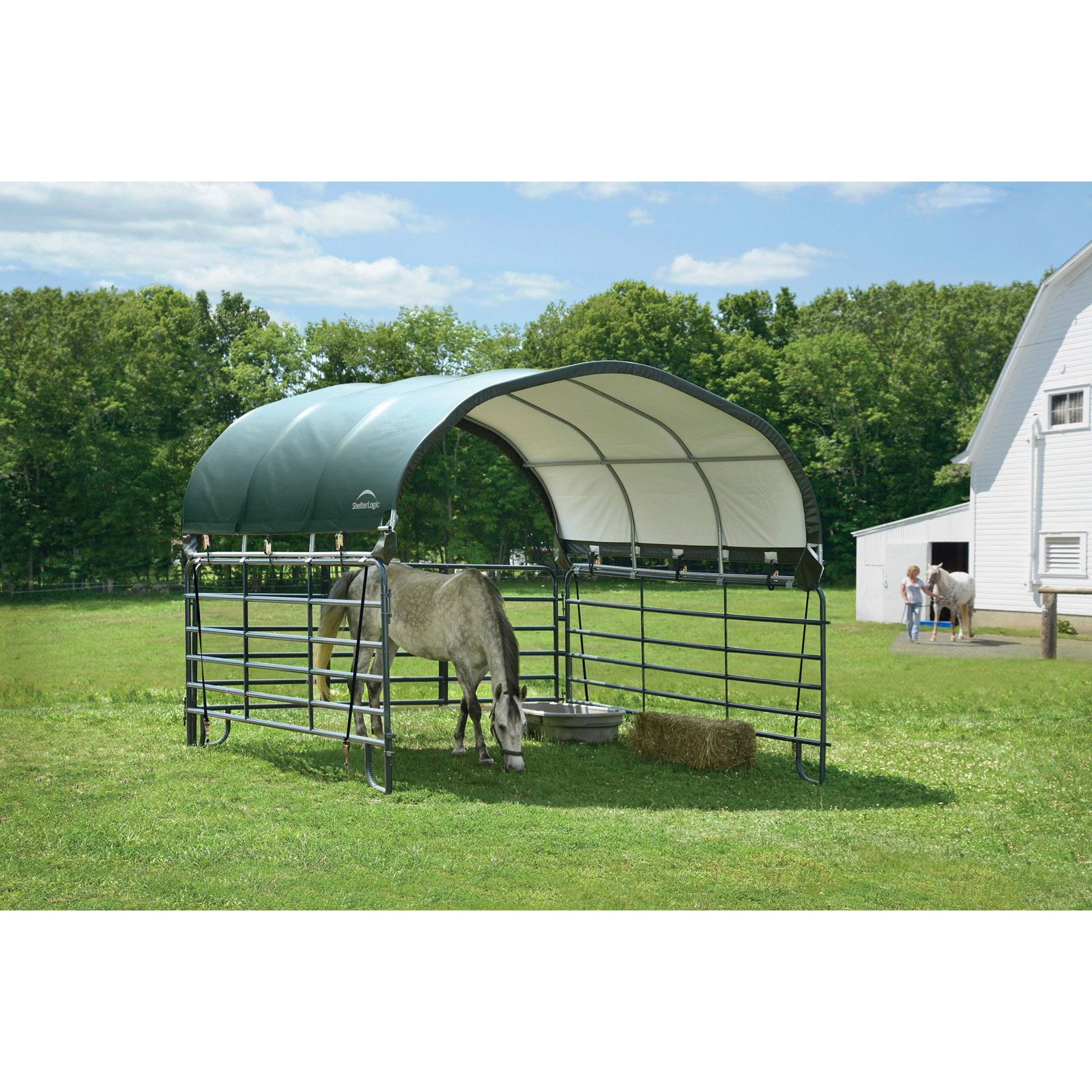 Click here to buy ShelterLogic Corral 12 x 12 ft. Shelter Green by ShelterLogic.