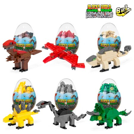 Dinosaur Educational Toys (Best Choice Products 12-Piece 6-in-1 Kids Educational Toy Dinosaur Eggs Building Bricks Set w/ Velociraptor, Triceratops, Raptor -)