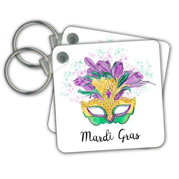 "Details about  /Wonderful 2/"" New Orleans Mardi Gras Style Keychain Keyring"
