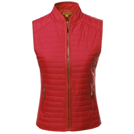 Reversible Quilted Vest - FashionOutfit Women's Solid Basic Quilted Vest Side Rib Panel Details