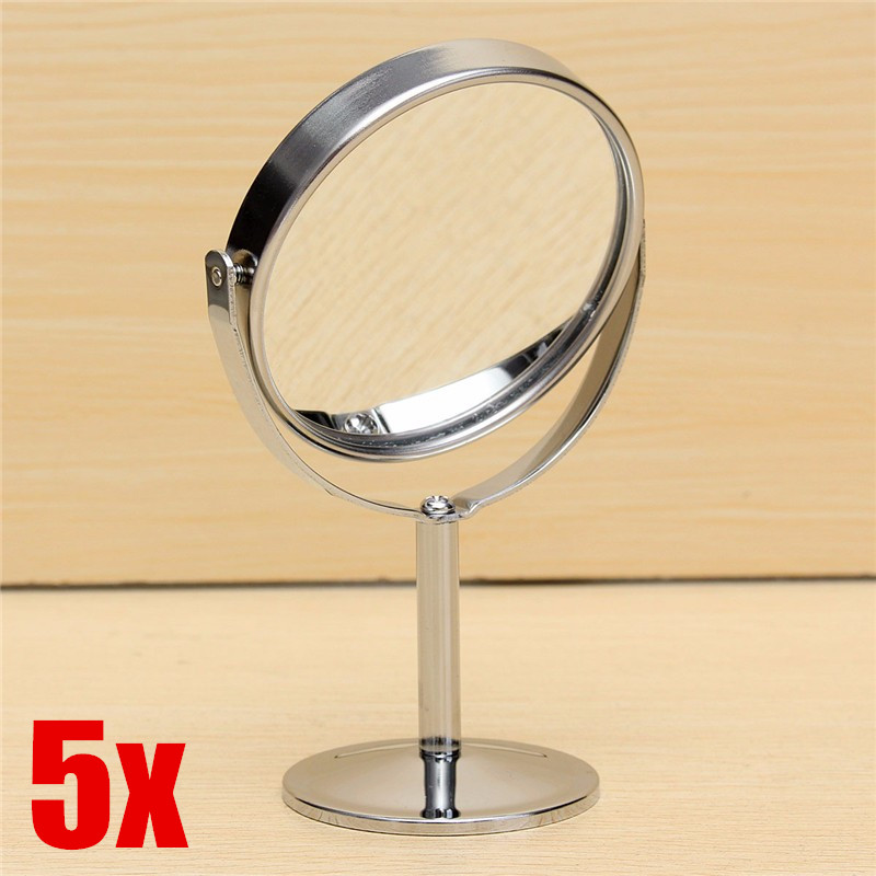 5X Double Side 360° Rotatable Desk Table Stand Bedroom Bath Cosmetic Makeup  Standing Mirror 2 Side +1:2x Magnifier/1:1Normal