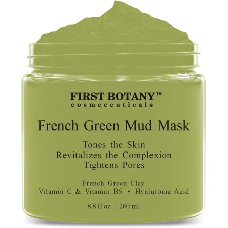 French Green Mud Mask 8.8 fl oz for men and women - an anti aging face mask, pore minimizer, blackhead remover, reduces acne scars, clarifying hair mask and gentle facial