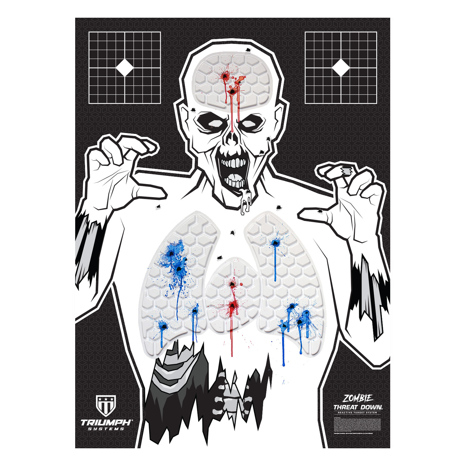 Threat Down Zombie Silhouette | Reactive Target | Shooting Target | Reactive Splatter Cells | Air Rifle, Pistol, Shotgun, Throwing Knives | Target