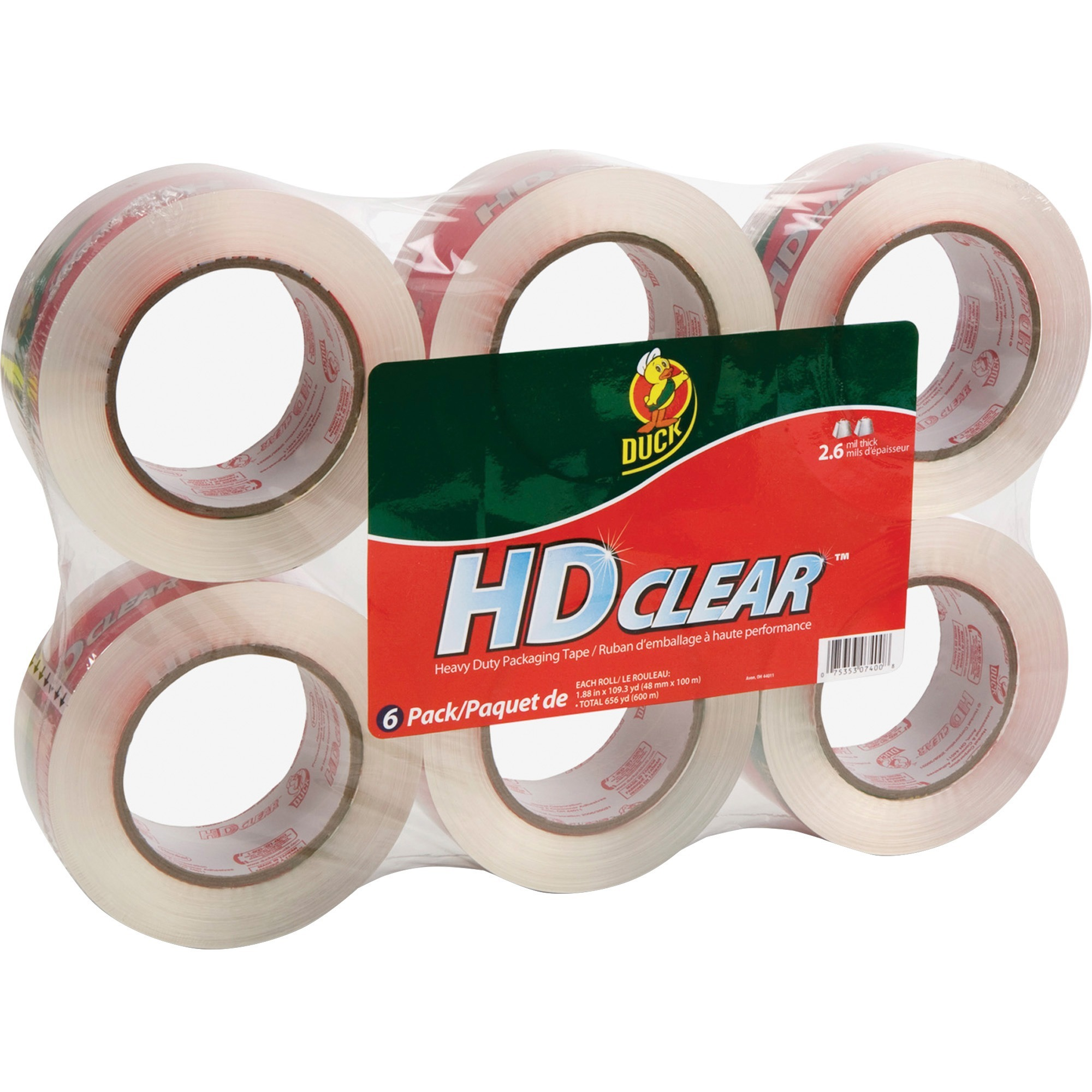Duck HD Clear Packaging Tape, 1.88 in. x 109.3 yd., Clear, 6-Count