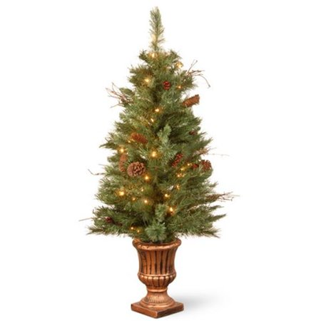 4 ft. Glisteing Pine Entrance Tree with Cones, Berries, Twigs in Gold Urn with 50 Clear Lights (Gold Twig Tree)