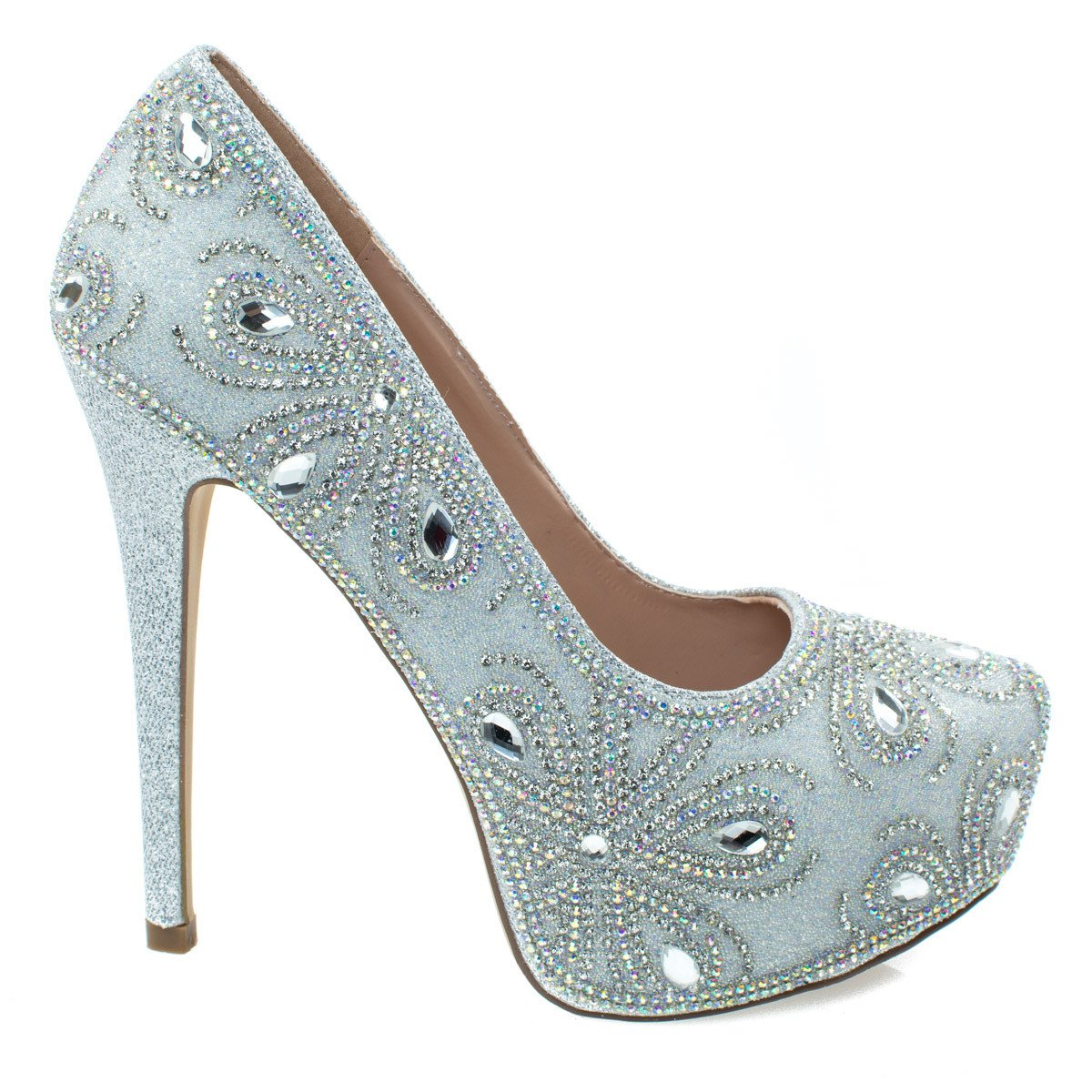 Kinko140 by Blossom, High Heel Stiletto Dress Pump w Hidden Platform & Rhinestone Glitter