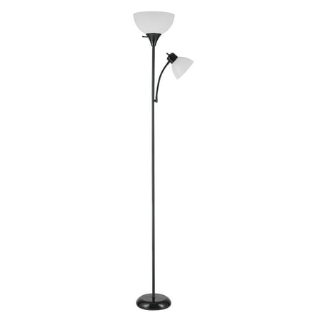 - Globe Electric Delilah 72 in. Matte Black Torchiere Floor Lamp with Adjustable Reading Light, 67135