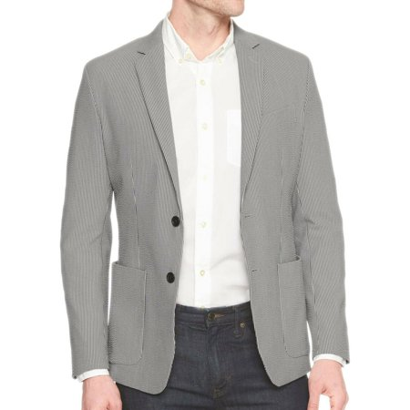 New  Banana Republic Mens Gray Striped Slim Fit Seersucker Blazer Jacket 42L 0980-1 (Seersucker Blazer Jacket)