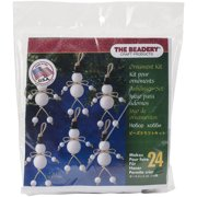 Holiday Beaded Ornament Kit-Folk Snowmen 3 Inch X 2.75 Inch Makes