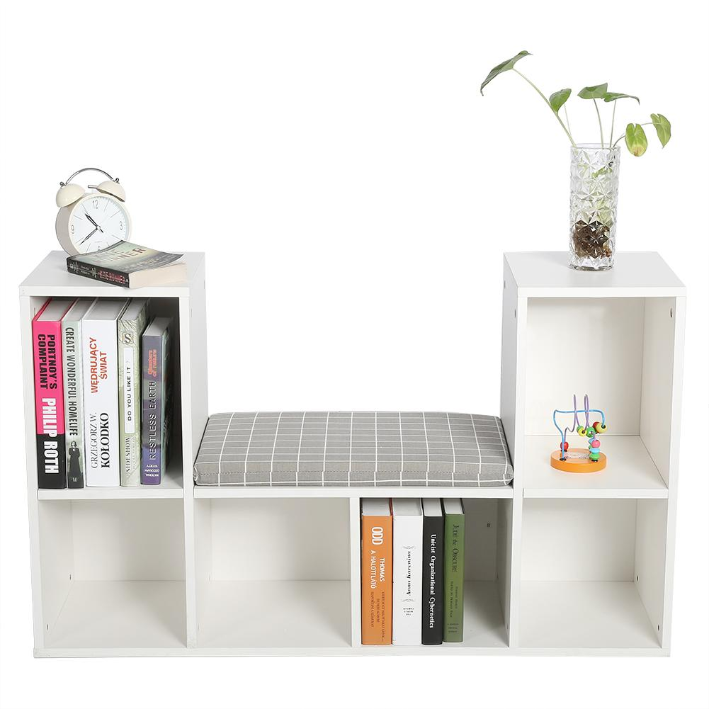 Storage Shelf Bookcase, Estink Wooden Multi-functional 6 Storage Spaces Bookshelf with Comfortable Cushion Seat as Reading Nook(White)