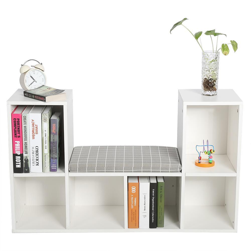 Storage Shelf Bookcase, Estink Wooden Multi-functional 6 Storage Spaces Bookshelf with Comfortable Cushion Seat as Reading Nook(White)