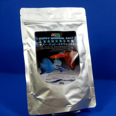 Azoo Guppy Mineral Salt 400G  Hard Water Mollies Swordtails Platys Ph Alkalinity By Aquarium Equip
