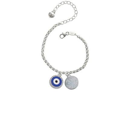 Silvertone Large Blue Evil Eye with AB Crystal Border Stronger Braver Smarter Engraved Bracelet