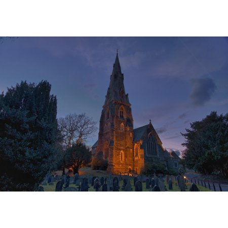 A Cemetery And Church Building Illuminated Ambleside Cumbria England Canvas Art   John Short  Design Pics  36 X 24