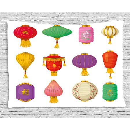 Lantern Tapestry, Chinese Celebration Asian Culture Far East New Year Cartoon Style Festival Tassels, Wall Hanging for Bedroom Living Room Dorm Decor, 80W X 60L Inches, Multicolor, by Ambesonne - Chinese New Year Decor Ideas