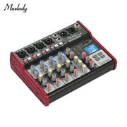 Muslady SL-6 Portable 6-Channel Mixing Console Mixer 2-band EQ Built-in 48V Phantom Power Supports BT Connection USB MP3 Player for Recording DJ Network Live Broadcast Karaoke