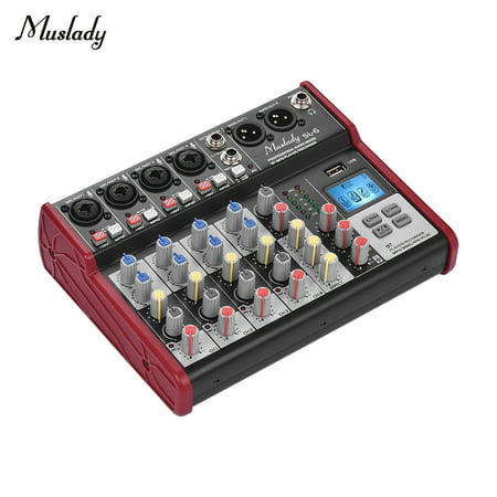 Muslady SL-6 Portable 6-Channel Mixing Console Mixer 2-band EQ Built-in 48V Phantom Power Supports BT Connection USB MP3 Player for Recording DJ Network Live Broadcast Karaoke - Ipod Mixer Console
