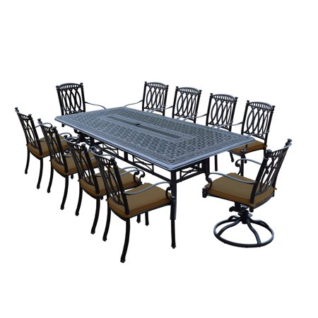 Oakland Living Milan 11 Piece Dining Set With 102x46 Inch Table 8 Chairs And 2 Swivel Rockers Both Stackable Sunbrella Cushions