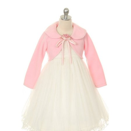 Kids Dream Pink Flower Special Occasion Fleece Bolero Jacket Girl 12