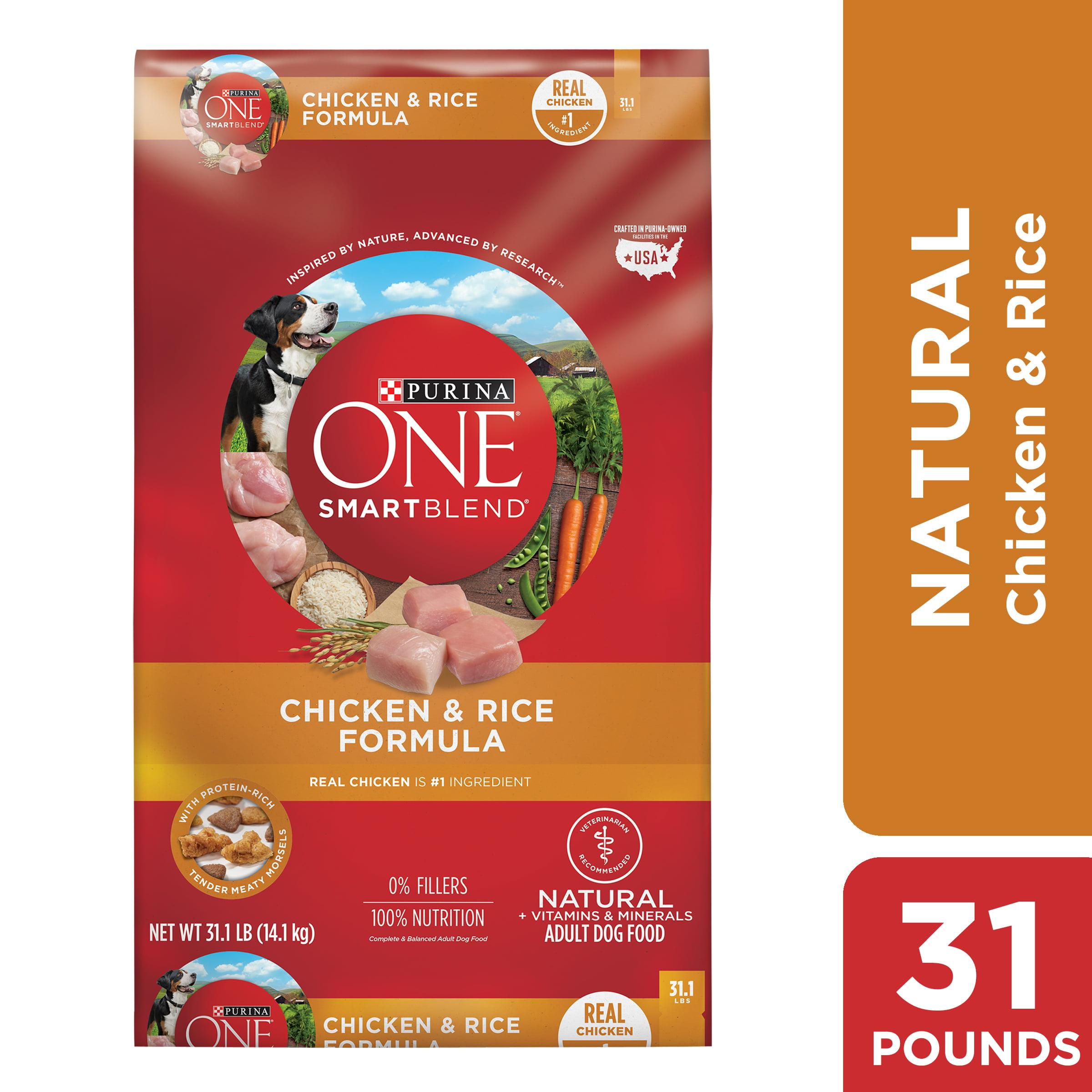 Purina ONE Natural Dry Dog Food, SmartBlend Chicken & Rice Formula, 31.1  lb. Bag - Walmart.com