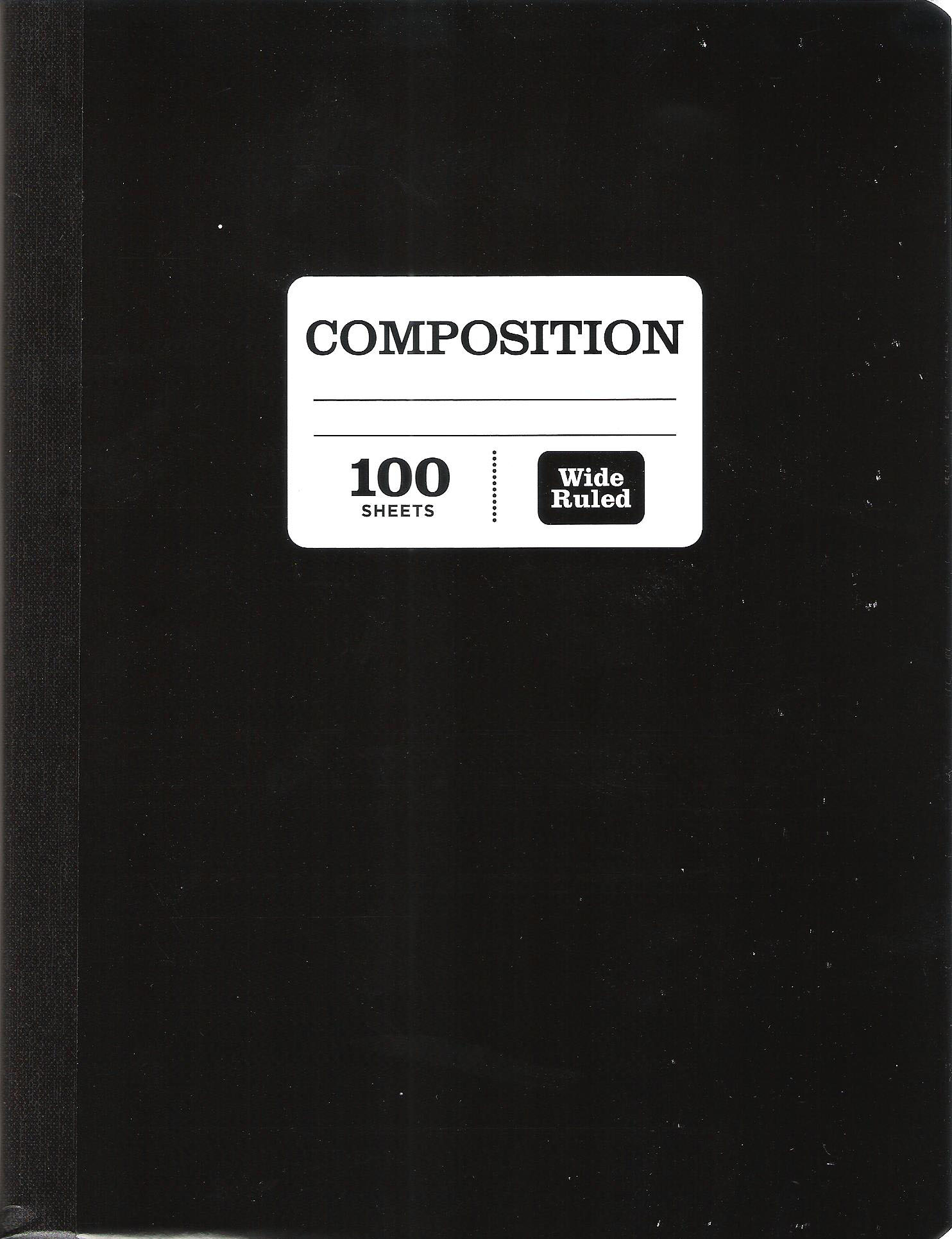 Pen + Gear 100 Sheets Black Composition Notebook, Wide Ruled
