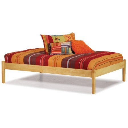 Atlantic Furniture Concord Platform Bed with Open Footrail in Natural Maple-Twin