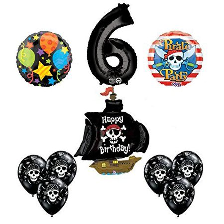 Black Pirate Ship 6th Birthday Party Supplies and Balloon Decorations - Pirate Birthday Party
