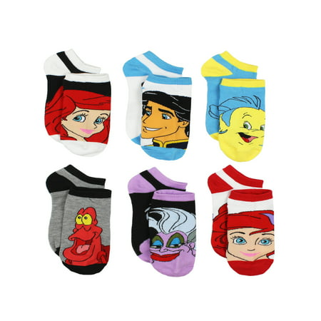 The Little Mermaid Ariel Womens 6 pack Socks (Teen/Adult) 1764FH Disney - Teen Socks