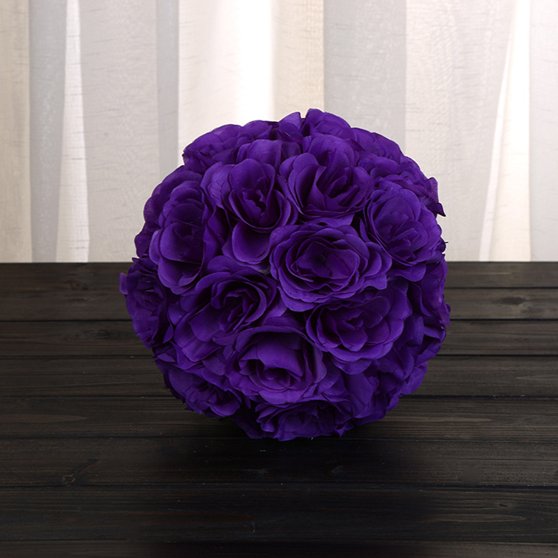 "Purple Decorative Balls New 7"" Silk Rose Ball Wedding Kissing Balls Pomander Decorative Flower Inspiration"