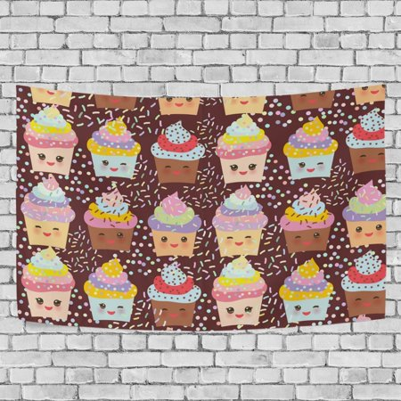 Mypop Cupcake Kawaii Funny Tapestry Wall Hanging Decoration Home Decor Living Room Dorm 60x51 Inches