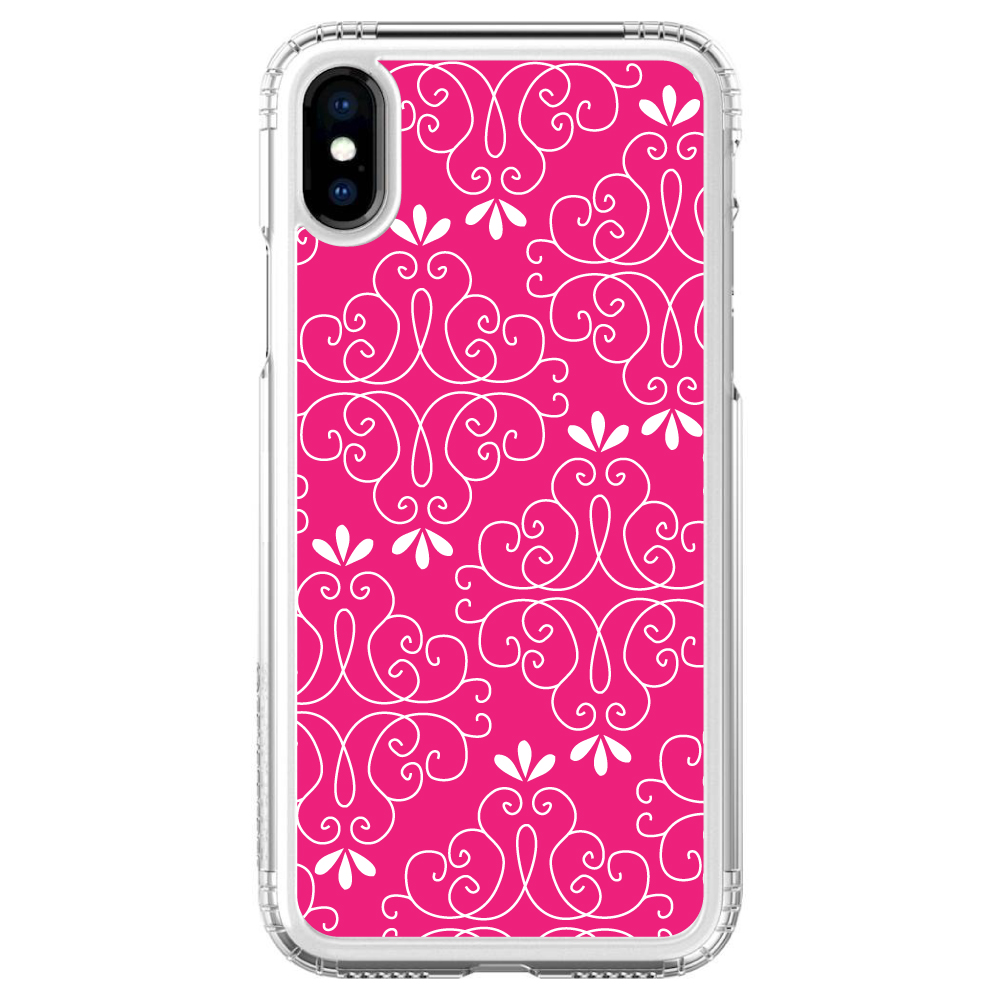 """SaharaCase iPhone X / XS (5.8"""" Screen) Clear Shockproof Custom Case By DistinctInk - Protective Kit & ZeroDamage Screen Protector - Neon Pink White Floral"""